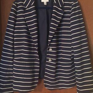 Navy and white striped blazer